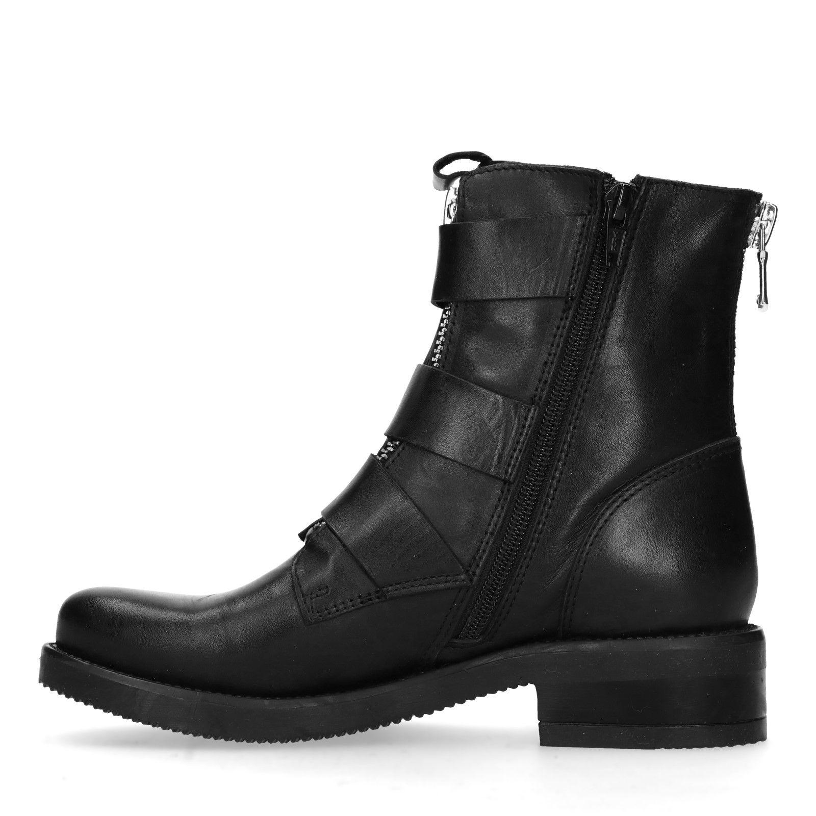 Sacha Biker boots met gespen en ritsen