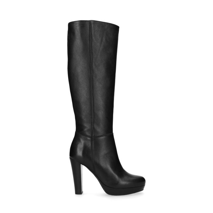 Zwarte hoge laarzen met hak