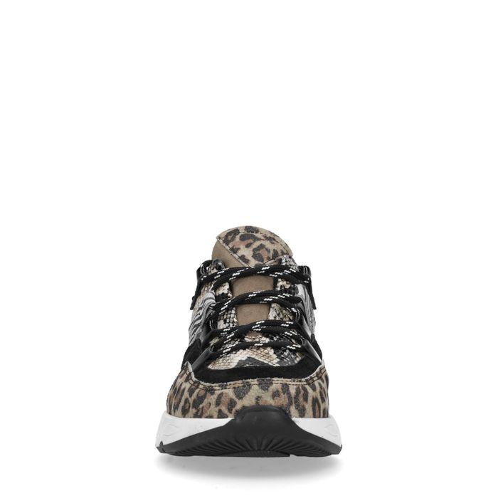 Zwarte dad sneakers met dierenprint