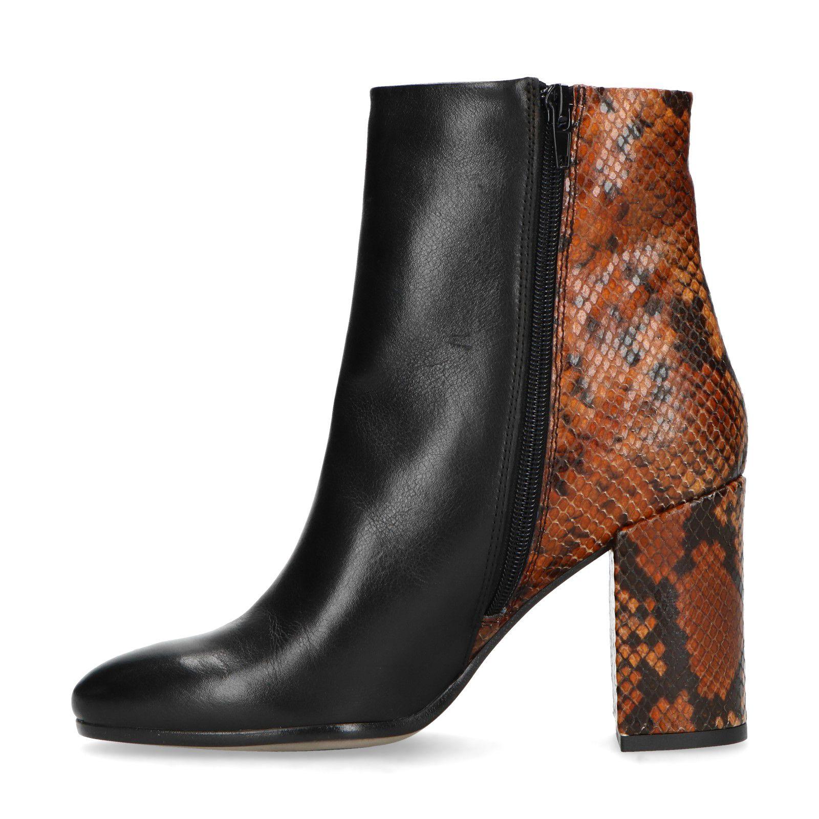 Zwarte enkellaarsjes met hak en snakeskin Damesschoenen