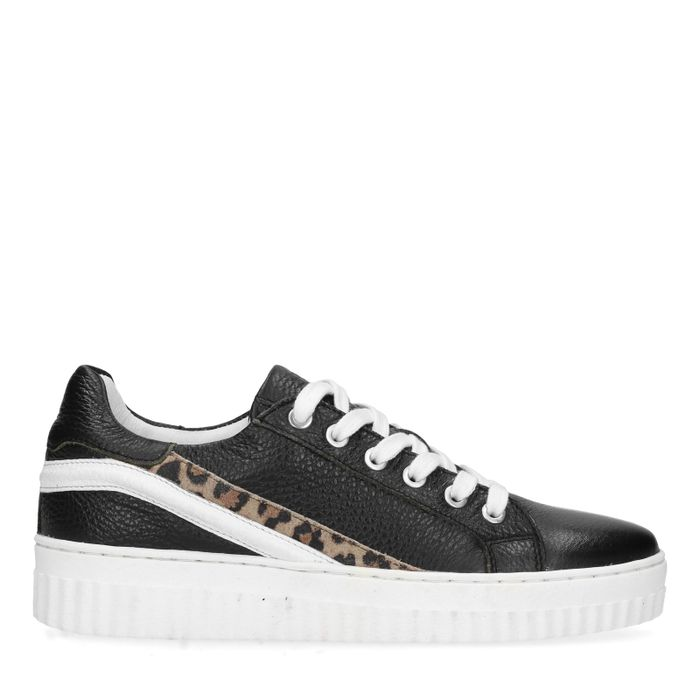 Zwarte platform sneakers met panter detail