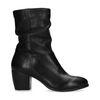 Korte zwarte leren laarzen met hak