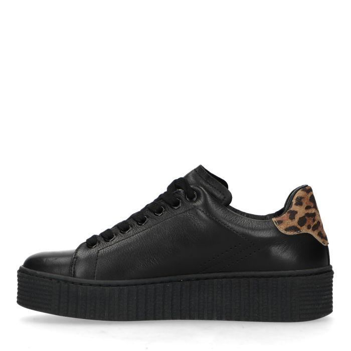 Zwarte platform sneakers met panterprint