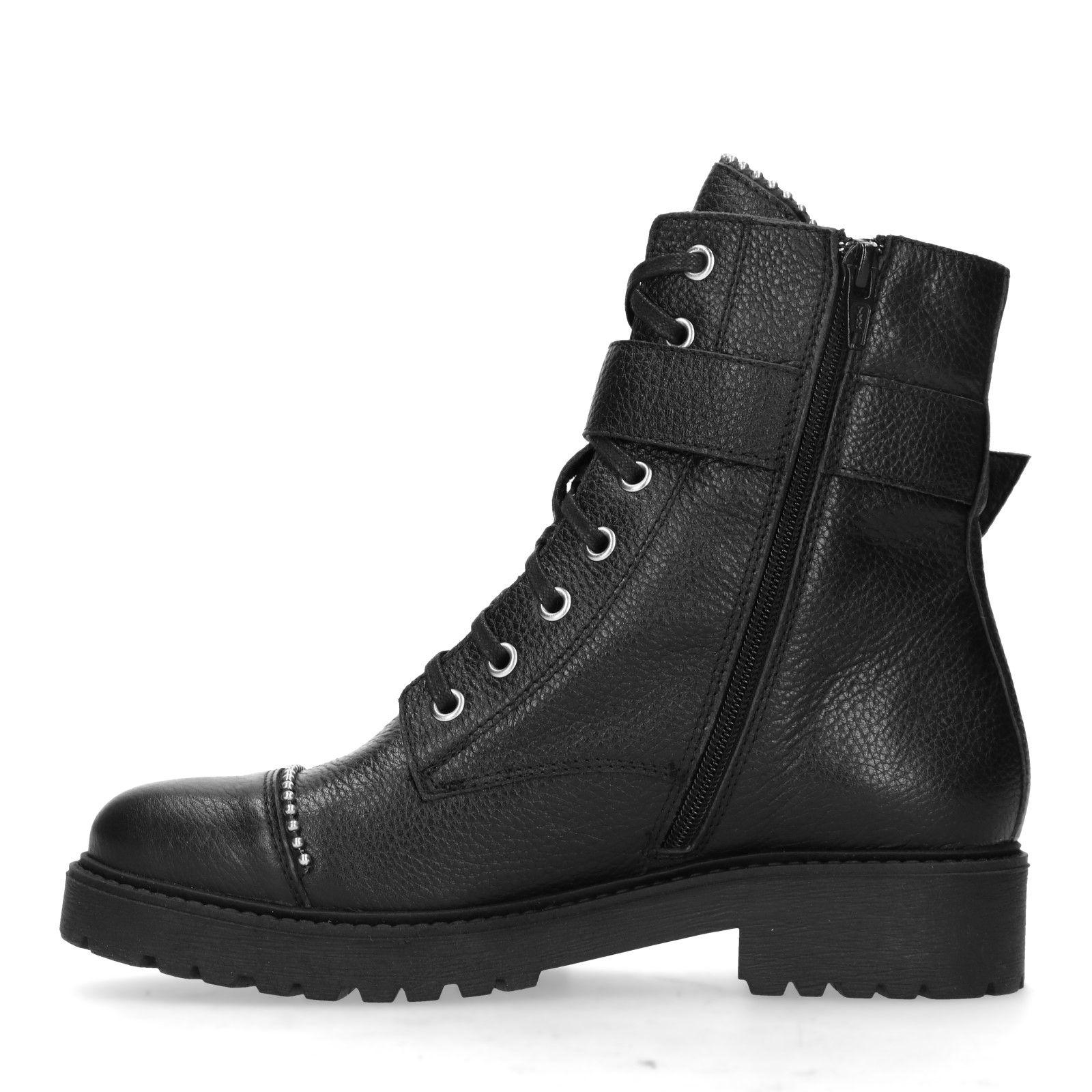 Zwarte veterlaarsjes met studs Damesschoenen – SACHA