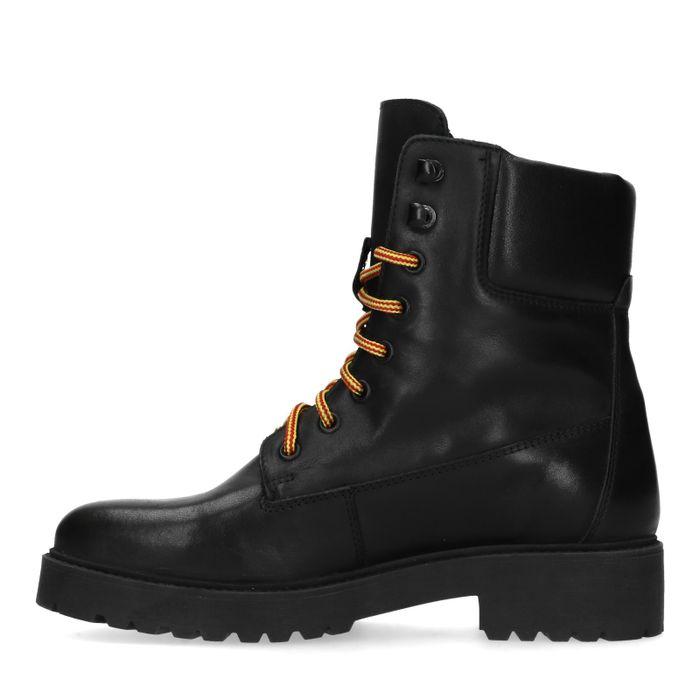 Zwarte biker boots van leer