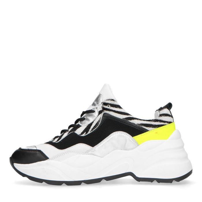 Dad sneakers met neon en zebra print
