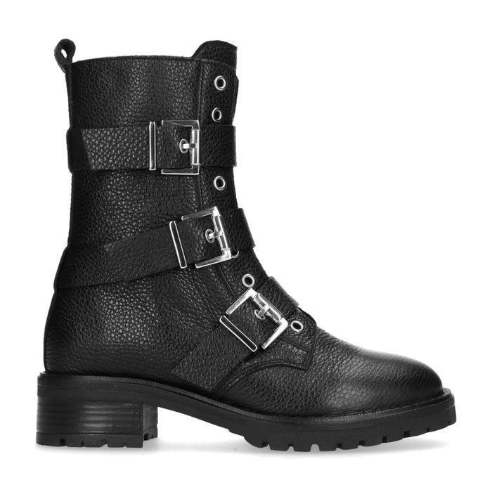 Zwarte biker boots met gespen