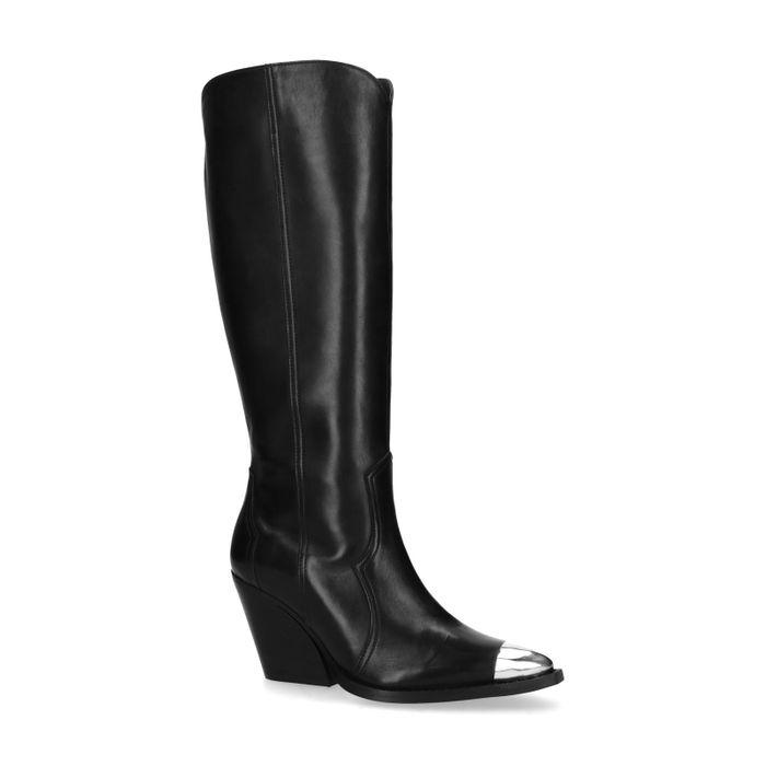 Zwarte hoge cowboy laarzen