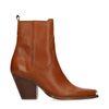 Cognac western boots met metalen neus