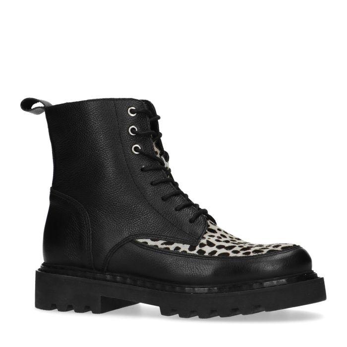 Zwarte biker boots met dalmatiërprint