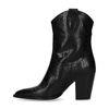 Zwarte leren western boots met crocoprint