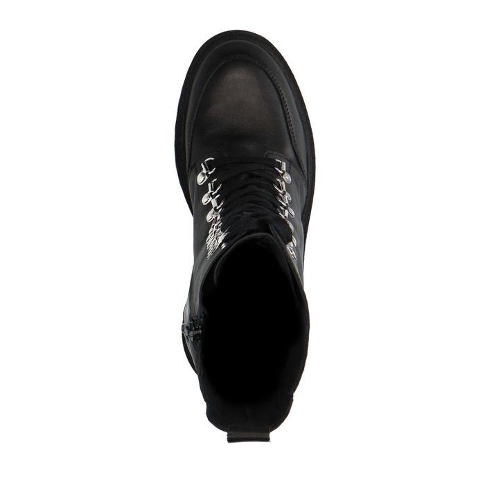 Zwarte leren hoge biker boots met blokhak
