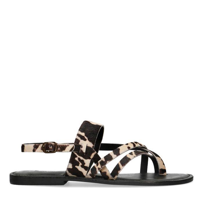 Zwarte sandalen met koeienprint
