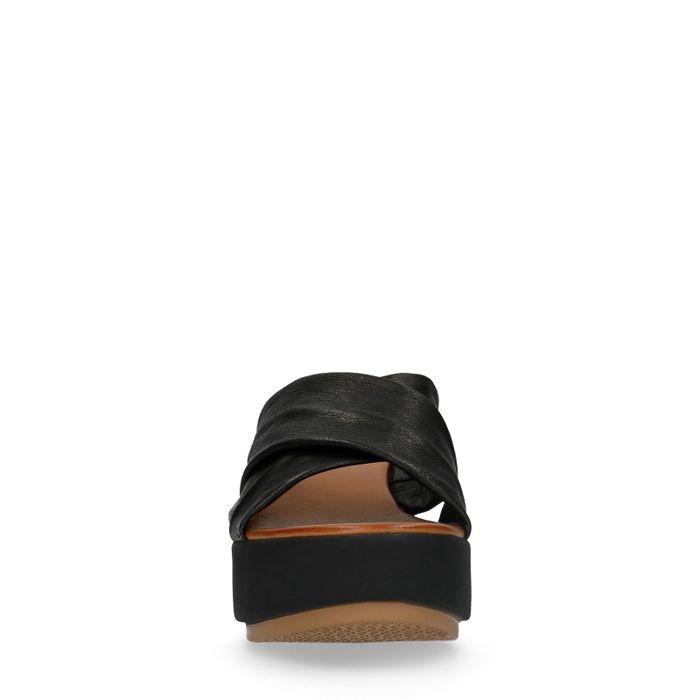 Zwarte leren slippers met plateau zool