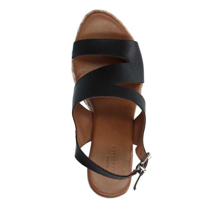 Zwarte leren sandalen met sleehak