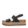 Zwarte leren plateau sandalen