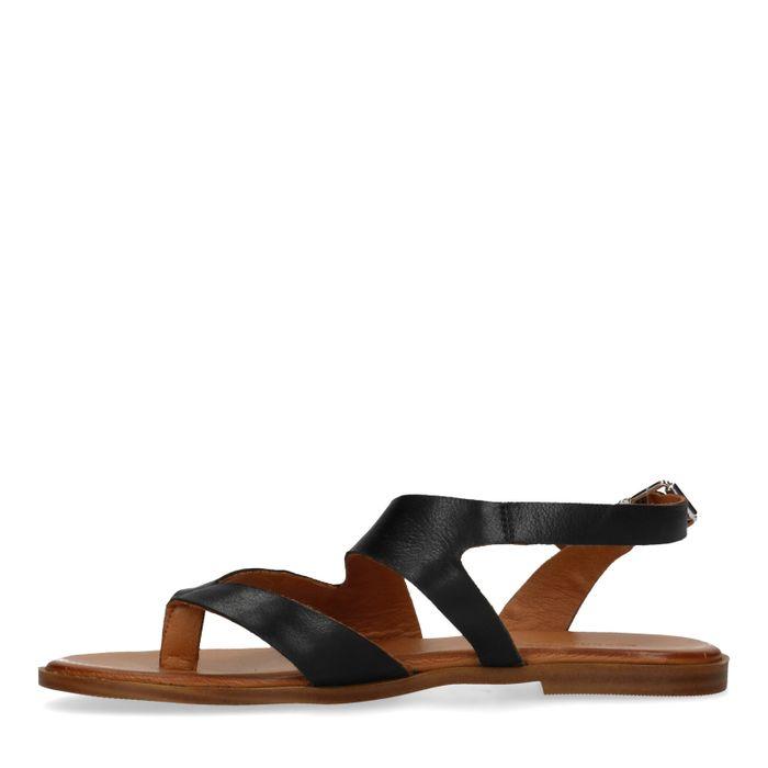 Zwarte leren sandalen