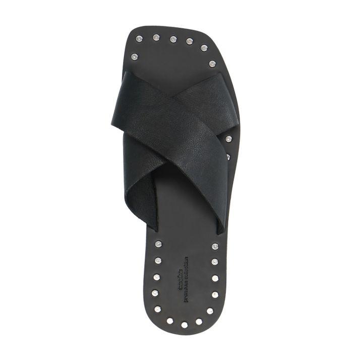 Zwarte leren slippers met studs