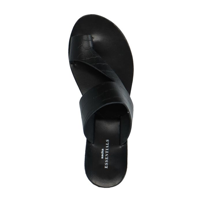 Zwarte slippers met crocoprint