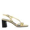 Sacha x Isha gele leren sandalen met hak