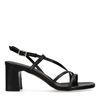 Sacha x Isha zwarte leren sandalen met hak