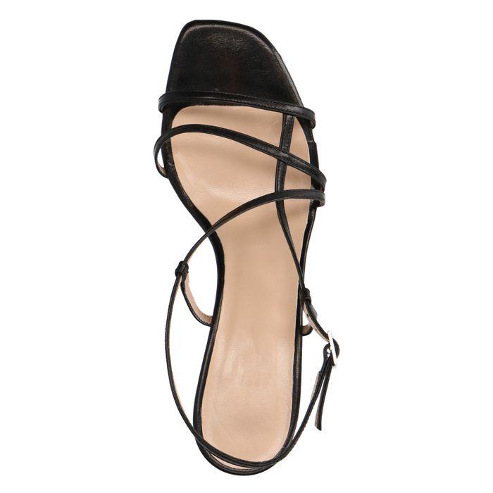 Zwarte leren sandalen met kitten heel