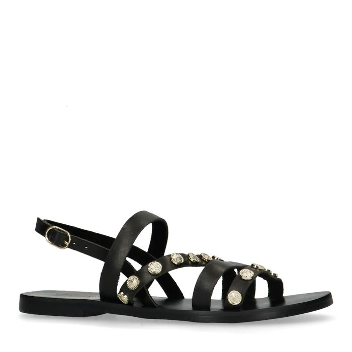 Zwarte sandalen met muntjes