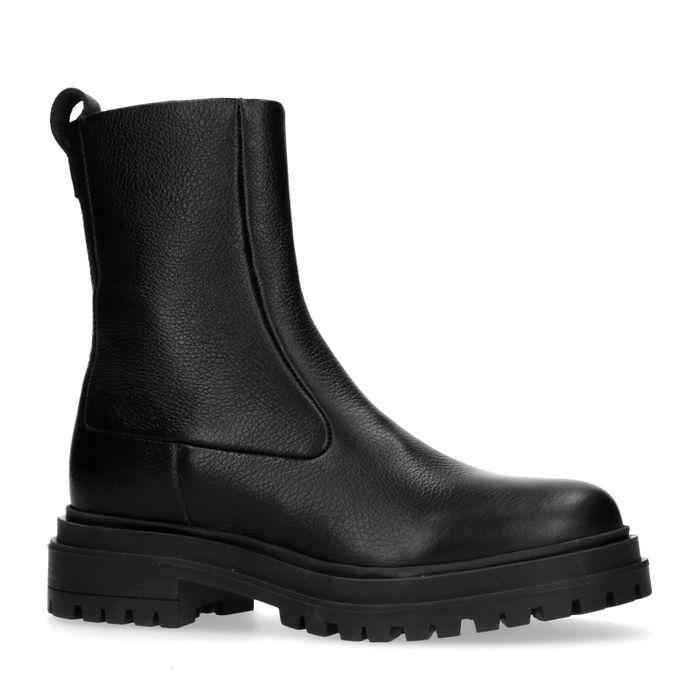 Sacha x Isha zwarte leren biker boots