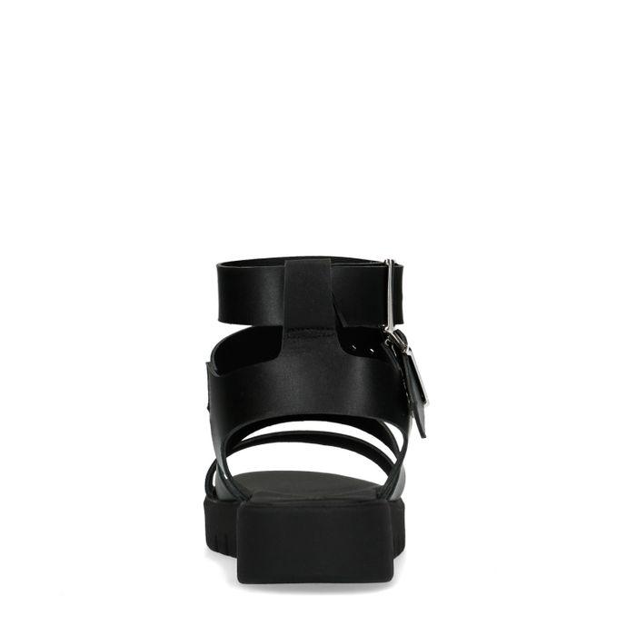 Zwarte sandalen met dubbele gesp