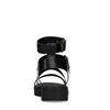 Zwarte plateau sandalen met croco leer