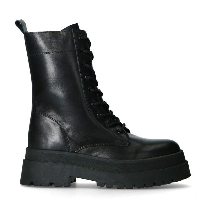 Zwarte leren biker boots