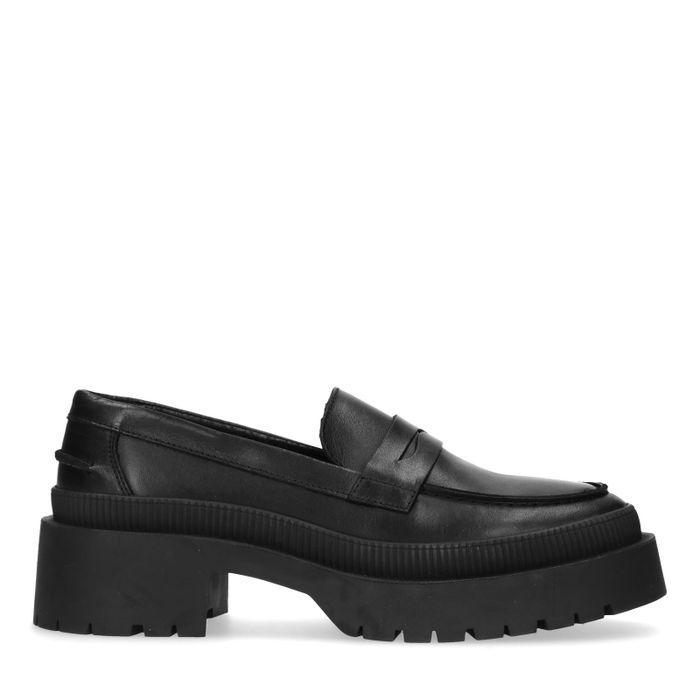Zwarte loafers met plateauzool