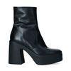 Zwarte leren chunky boots