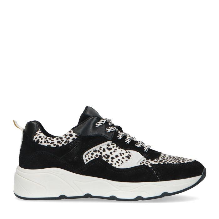Zwarte dadsneakers met cheetahprint