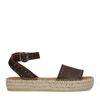 Donkerbruine leren plateau sandalen