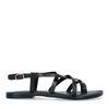 Zwarte leren sandalen met gekruiste bandjes