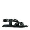 Zwarte leren sandalen met zilverkleurige studs