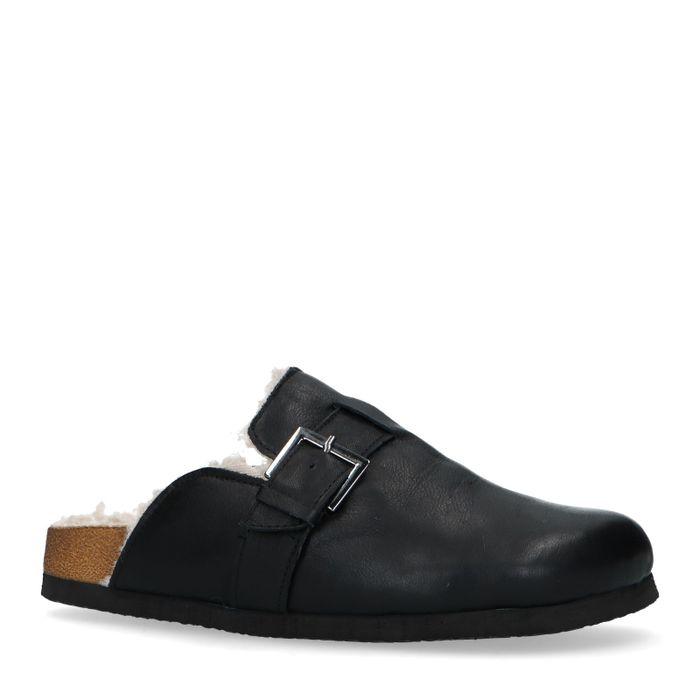 Zwarte leren pantoffels met gesp