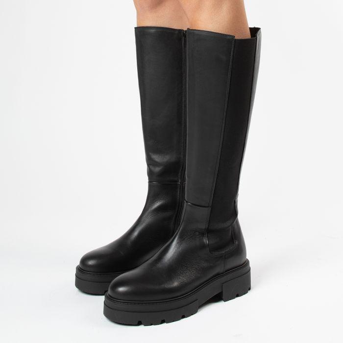 Hoge zwarte leren chelsea boots