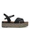Zwarte leren plateau sandalen met gevlochten zool