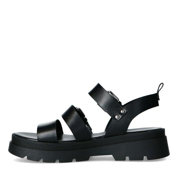 Zwarte leren sandalen met zilverkleurige gespen
