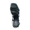 Zwarte leren sandalen met hak