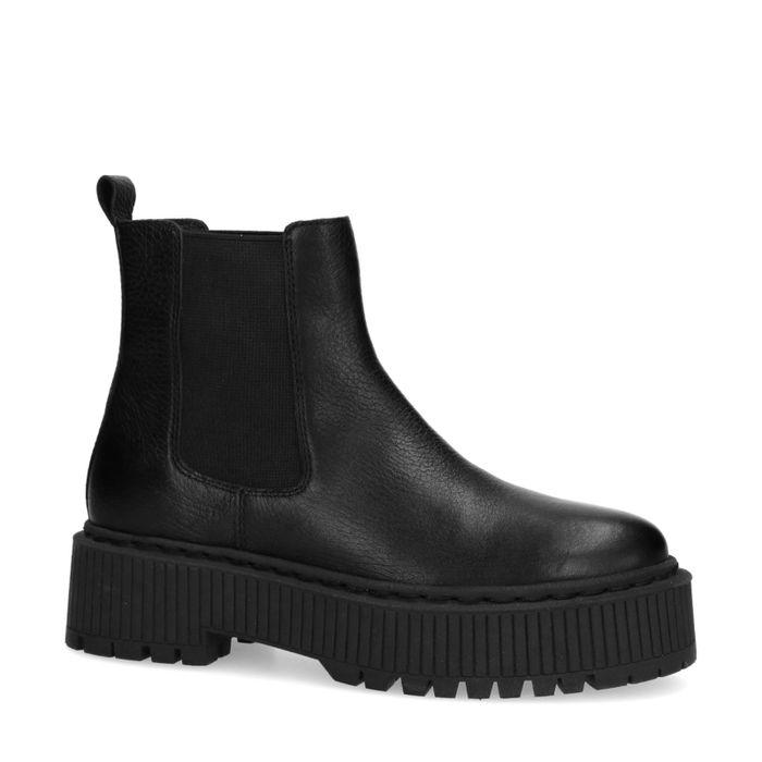 Lage zwarte chelsea boots met plateau zool