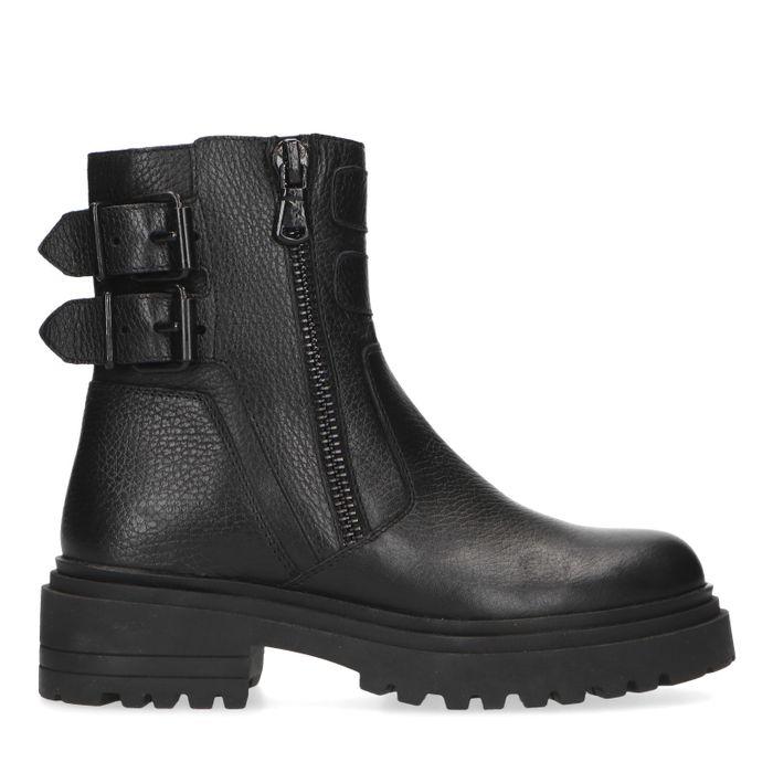 Zwarte biker boots met gespen en ritsen.