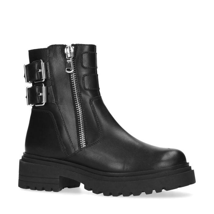 Zwarte biker boots met gespen en rits