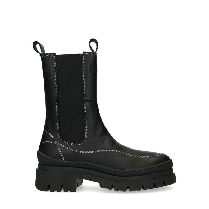 Zwarte chelsea boots met witte stiksels