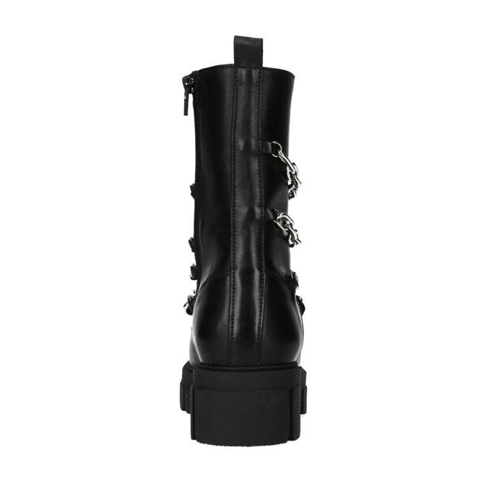 Zwarte biker boots met kettingen