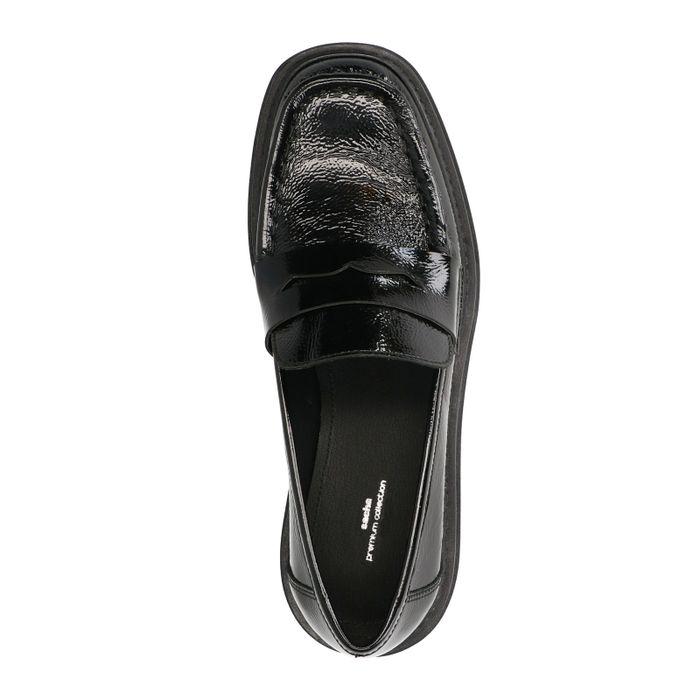 Zwarte lakleren loafers met plateauzool