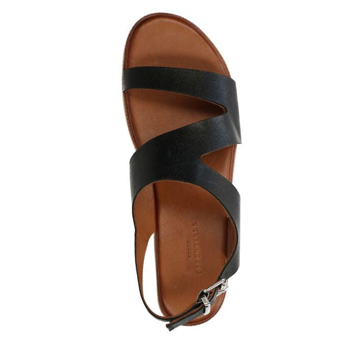 Zwarte plateau sandalen met witte zool