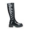 Zwarte hoge laarzen met lak look